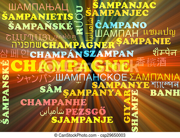 Champagne multilanguage wordcloud background concept glowing - csp29650003