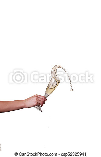 champagne splash from glass with female hand isolated on the white background - csp52325941
