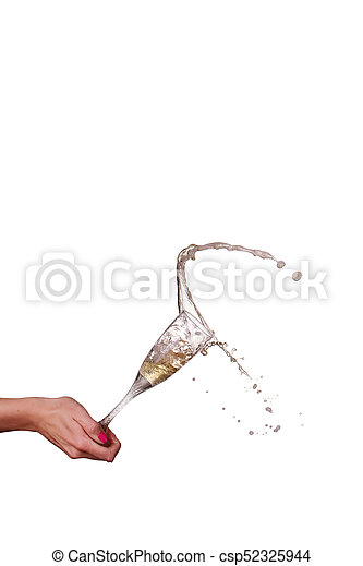 champagne splash from glass with female hand isolated on the white background - csp52325944