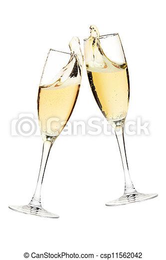 champagner, cheers!, zwei, brille - csp11562042