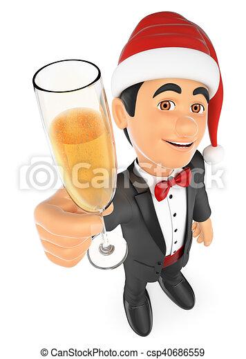 champanhe, smoking, 3d, vidro, brindar, homem - csp40686559