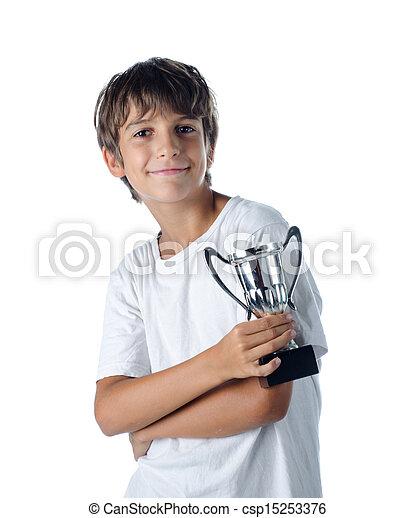 champion child holding winner cup 2 - csp15253376