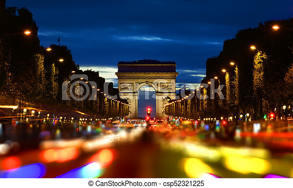 Champs Elysee in evening - csp52321225