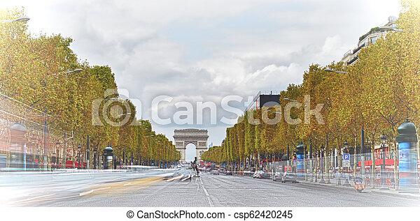 Champs-Elysees, Paris. - csp62420245