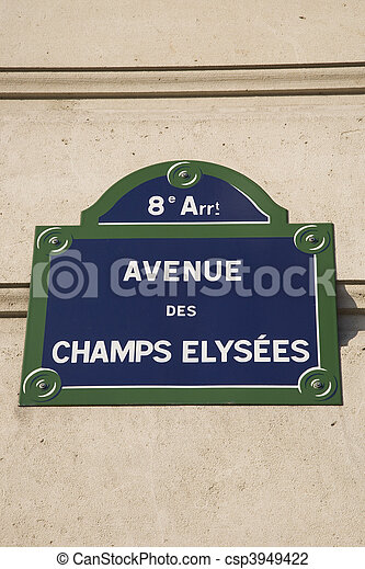 Champs Elysees Street Sign, Paris, France - csp3949422