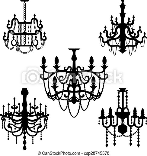 Chandelier set vector - csp28745578