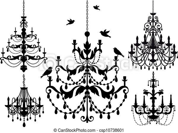 Antique chandelier set vector background illustration vector chandelier set vector aloadofball Gallery
