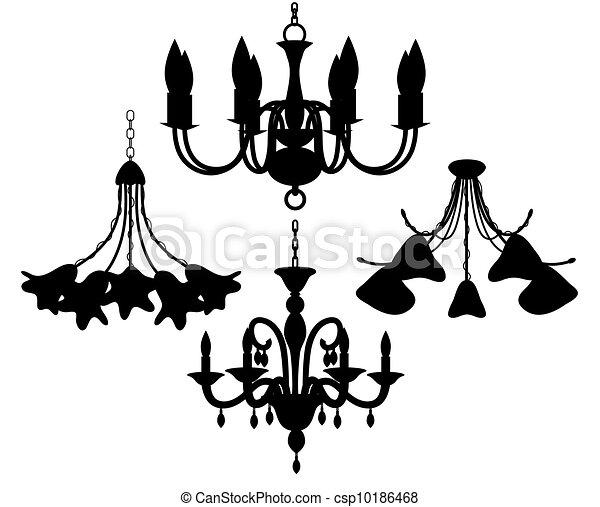 Chandelier silhouettes set - csp10186468