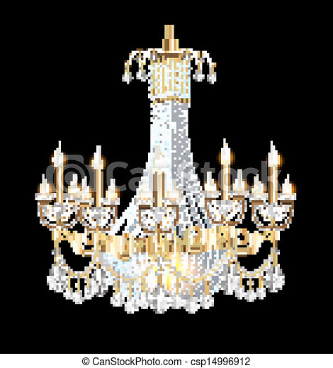 Illustration of a modern chandelier with crystal pendants on chandelier with crystal pendants on the black csp14996912 aloadofball Gallery