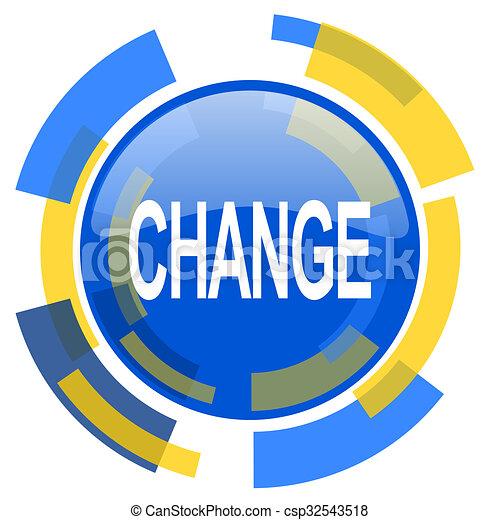 change blue yellow glossy web icon - csp32543518