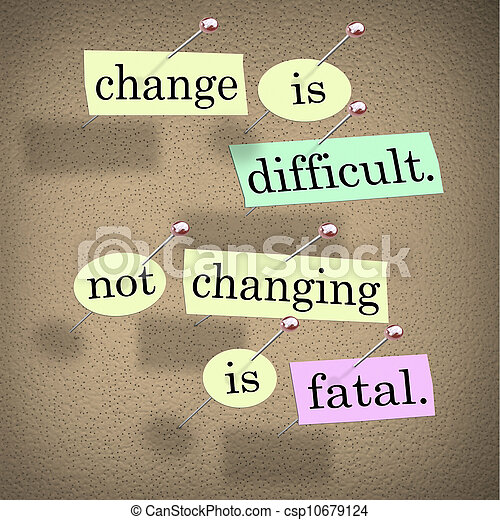 Change Difficult Not Changing is Fatal Words Bulletin Board - csp10679124