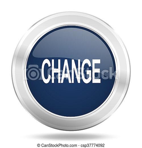 change icon, dark blue round metallic internet button, web and mobile app illustration - csp37774092