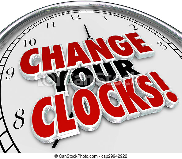 Change Your Clocks Set Hands Forward Back One Hour Daylight Savings TIme - csp29942922
