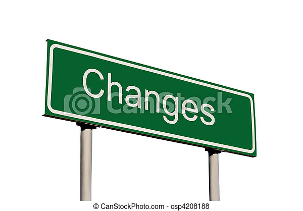 Changes Green Road Sign Isolated - csp4208188