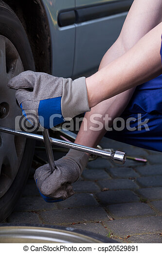 Changing a tire - csp20529891