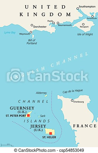Channel islands guernsey and jersey, political map. Channel islands on