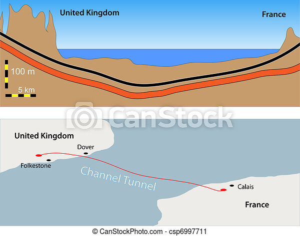 Channel Tunnel, Le tunnel sous la Manche - csp6997711