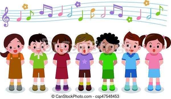 chanson, filles, illustration, chœur, garçons, vecteur, chant - csp47548453