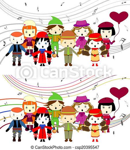 chant, gosses, groupe - csp20395547