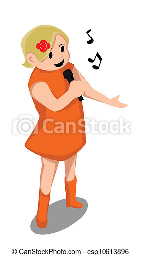 chanter, girl, chanson - csp10613896