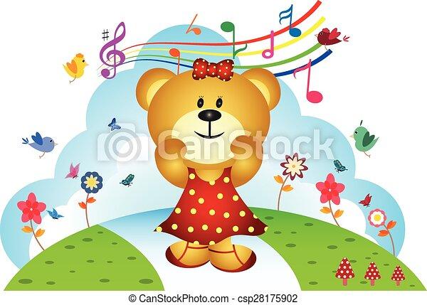 chanter, petit spéculateur baisse, chanson - csp28175902