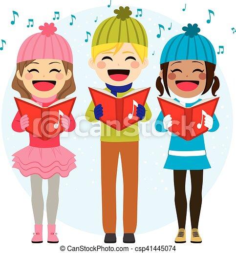 chants, gosses, chant, noël - csp41445074