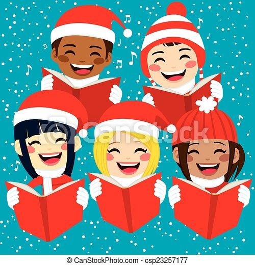 chants, heureux, chant, noël, enfants - csp23257177