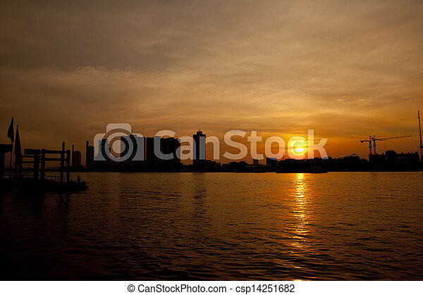 Chao Phraya River at sunset - csp14251682