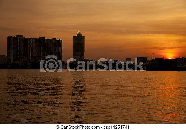 Chao Phraya River at sunset - csp14251741