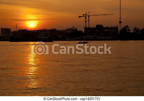 Chao Phraya River at sunset - csp14251731