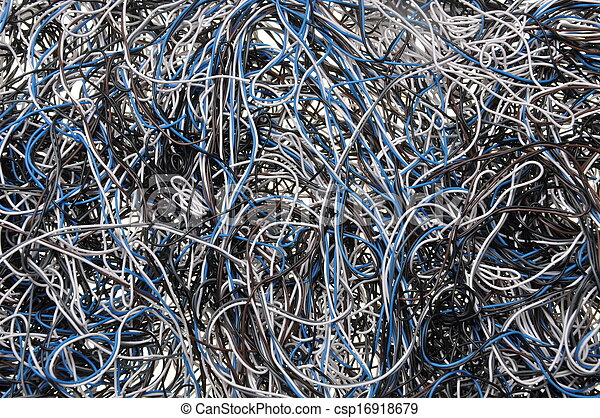 Chaos of network cables  - csp16918679