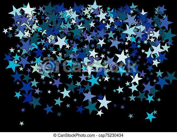 Blue and Black Stars on Black Card Stock