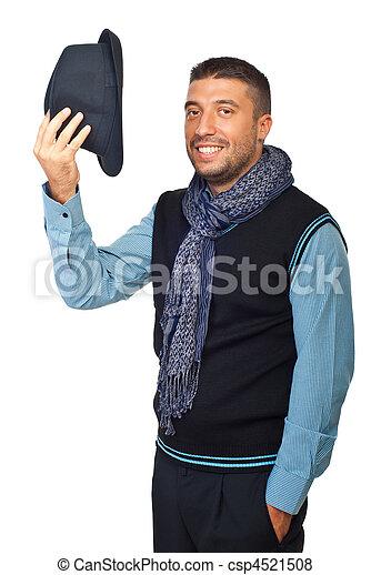 chapéu, modernos, desligado, saudação, homem - csp4521508