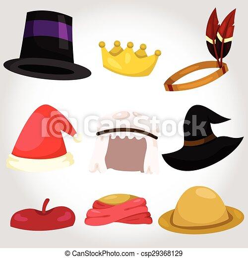 chapeau, ensemble, illustrateur, tasse - csp29368129