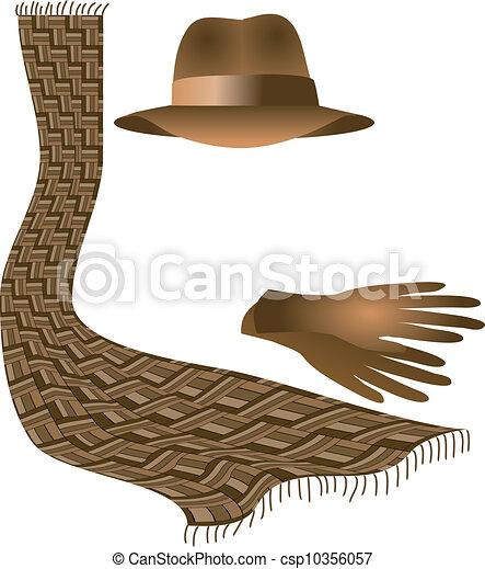 chapeau, gants, écharpe - csp10356057
