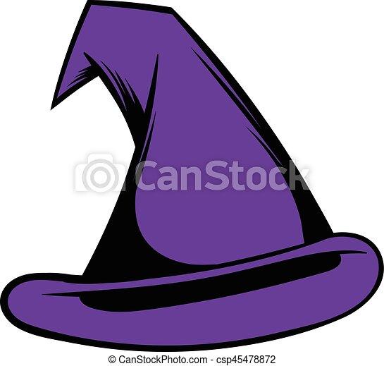 Chapeau magicien dessin anim ic ne style isol illustration vecteur sorci re chapeau - Dessin de chapeau de magicien ...