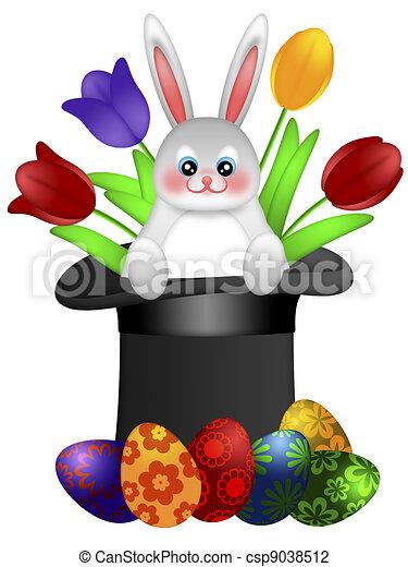 Chapeau magicien lapin p ques jour color peint tulipes oeufs illustration jour lapin - Dessin de chapeau de magicien ...