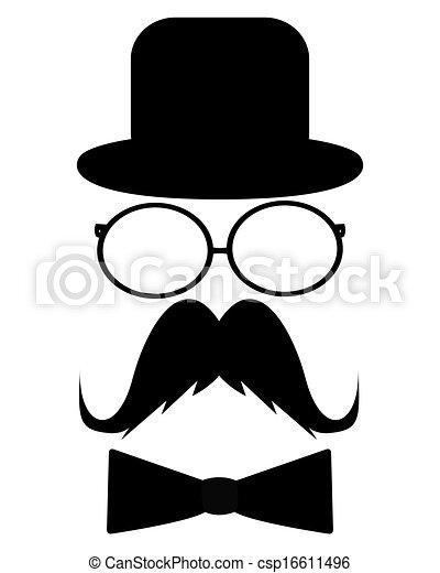 chapeau, moustache, lunettes soleil - csp16611496