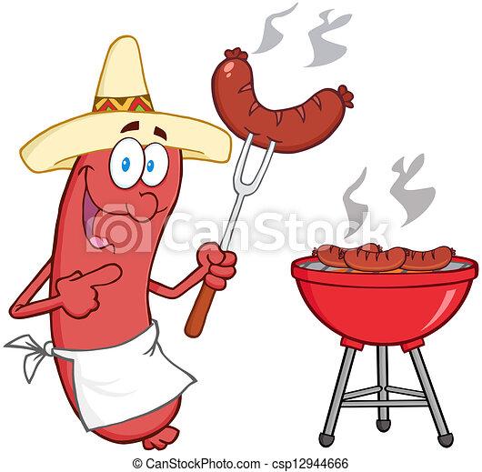 chapeau, saucisse, mexicain - csp12944666