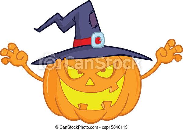 Chapeau Sorcière Citrouille Halloween Illustration Sorcière