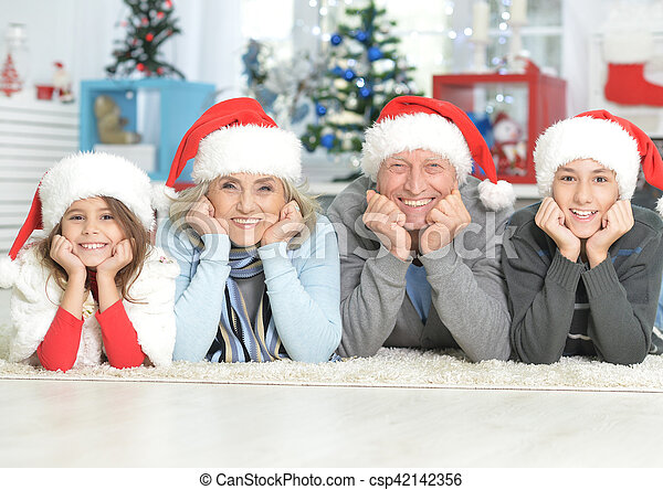chapeaux, famille, santa - csp42142356