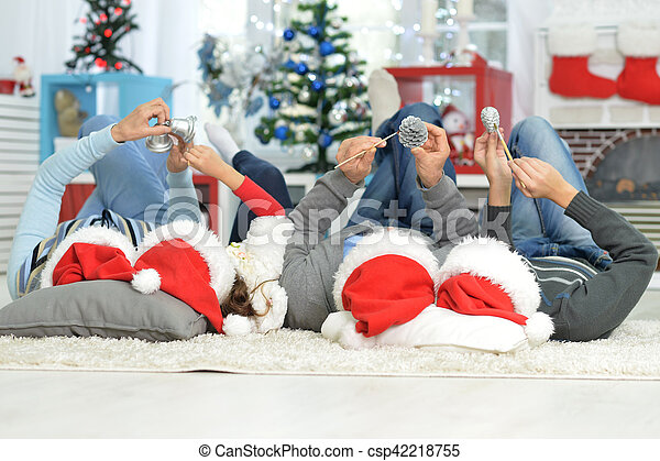 chapeaux, famille, santa - csp42218755