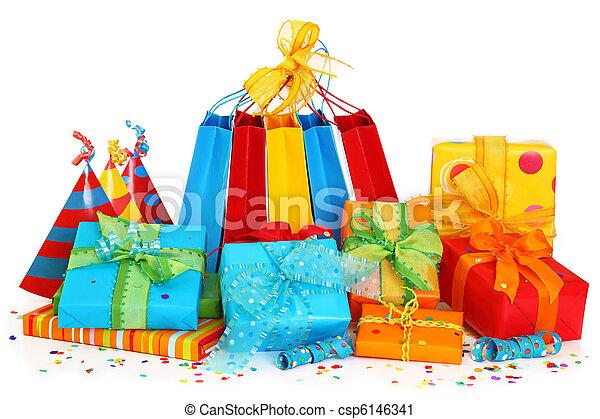 chapeaux partie, boîtes, cadeau, coloré - csp6146341