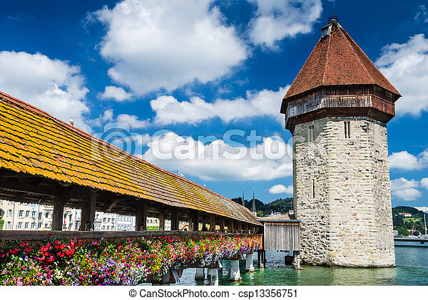 Chapel Bridge in Luzern, Switzerland - csp13356751