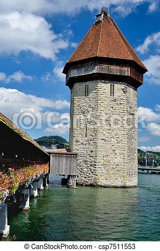 Chapel Bridge tower in Luzern, Switzerland - csp7511553