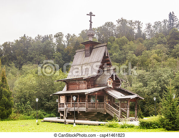 Chapel of St. Sergius of Radonezh. The Falls Gremyachiy key. Moscow region - csp41461823