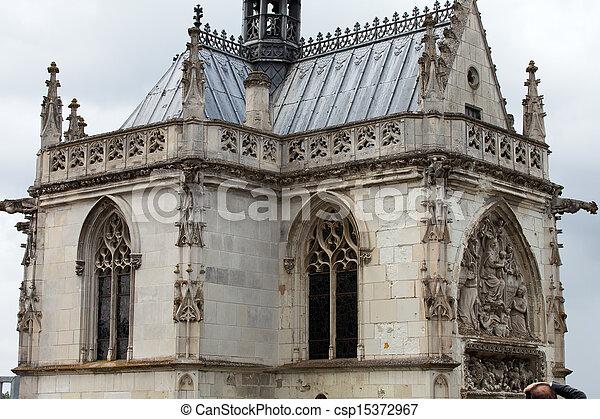 Chapel St. Hubert where Leonardo Da Vinci is buried in Amboise, France. - csp15372967