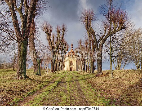 Chapel with autumn trees at end of alley road - csp67040744