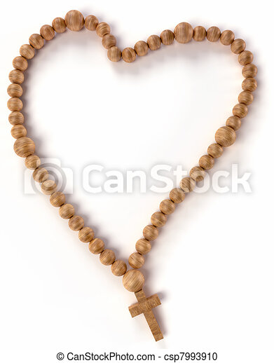 Chaplet or rosary beads heart shape  - csp7993910