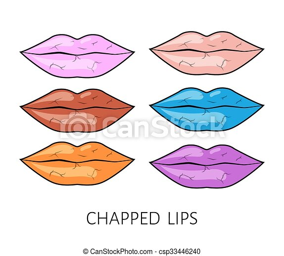 Chapped wound on the lips full color set. winter wind - csp33446240
